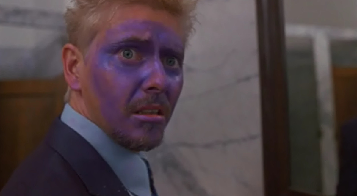 The purple hue actually matches his eyes.