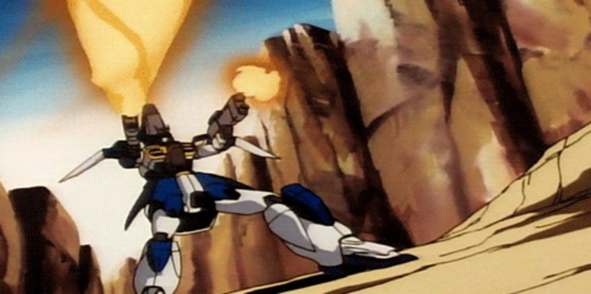 Gundam Airmaster Burst firing its weapons.