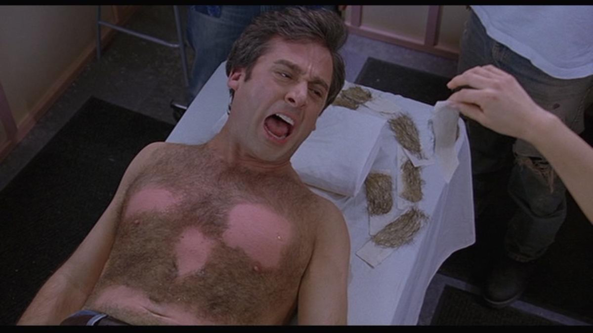 Steve Carrell in the infamous hair-waxing scene.