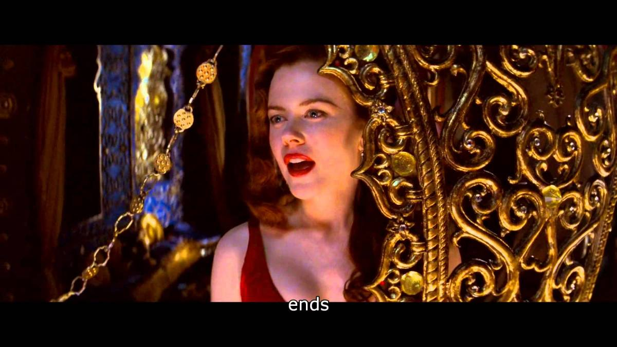 Satine sings of flying away, accurately predicting her own death.