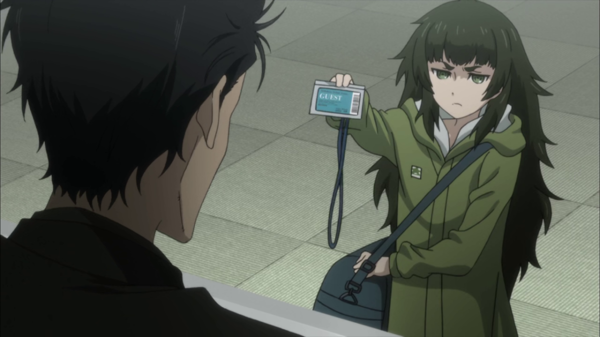 Maho, short in stature and in temper, tries to convince Okabe that she's not a lost child.