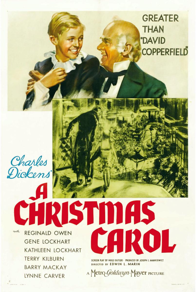 """Movie poster for """"A Christmas Carol"""" with Reginald Owen (1938)"""