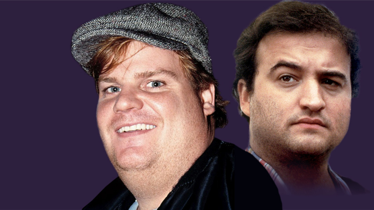 Chris Farley and his idol, John Belushi.