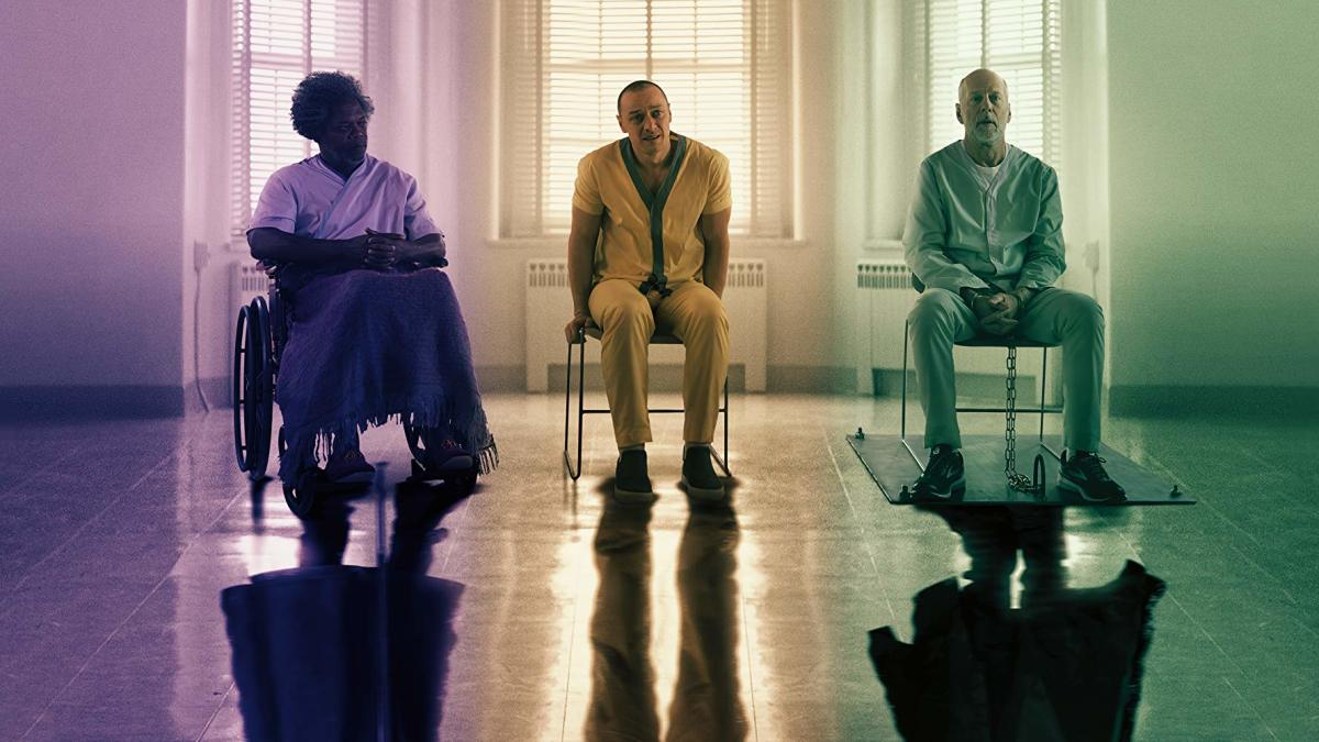 (From Left to Right): Samuel L. Jackson as Elijah Price/Mr. Glass. James McAvoy as Kevin Wendell Crumb/The Hoard. Bruce Willis as David Dunn/The Overseer.