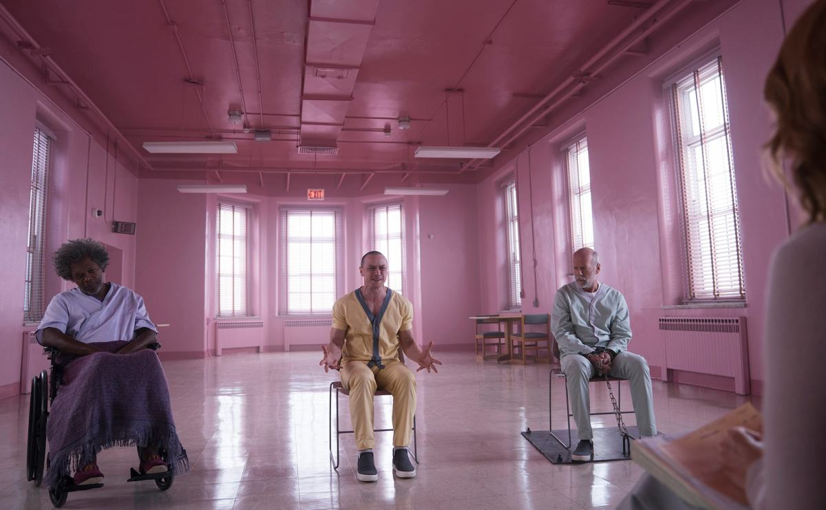 "Samuel L. Jackson, James McAvoy, and Bruce Willis in M. Night Shyamalan's, ""Glass."""