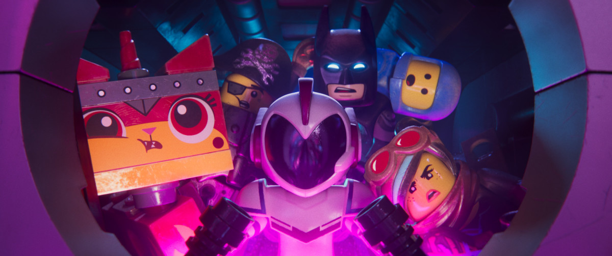 "Unikitty (Alison Brie), MetalBeard (Nick Offerman), Batman (Will Arnett), Benny (Charlie Day), Wyldtyle (Elizabeth Banks), and General Mayhem (Stephanie Beatriz) from, ""The Lego Movie 2: The Second Part."""