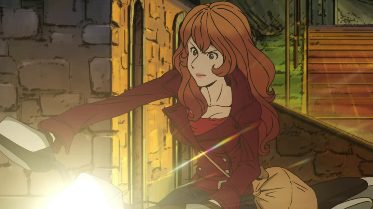 Fujiko aims to make a getaway on her bike with the crown of San Marino in tow.