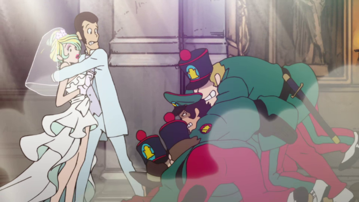 Zenigata's fresh attempt to apprehend Lupin at his wedding doesn't go as planned.