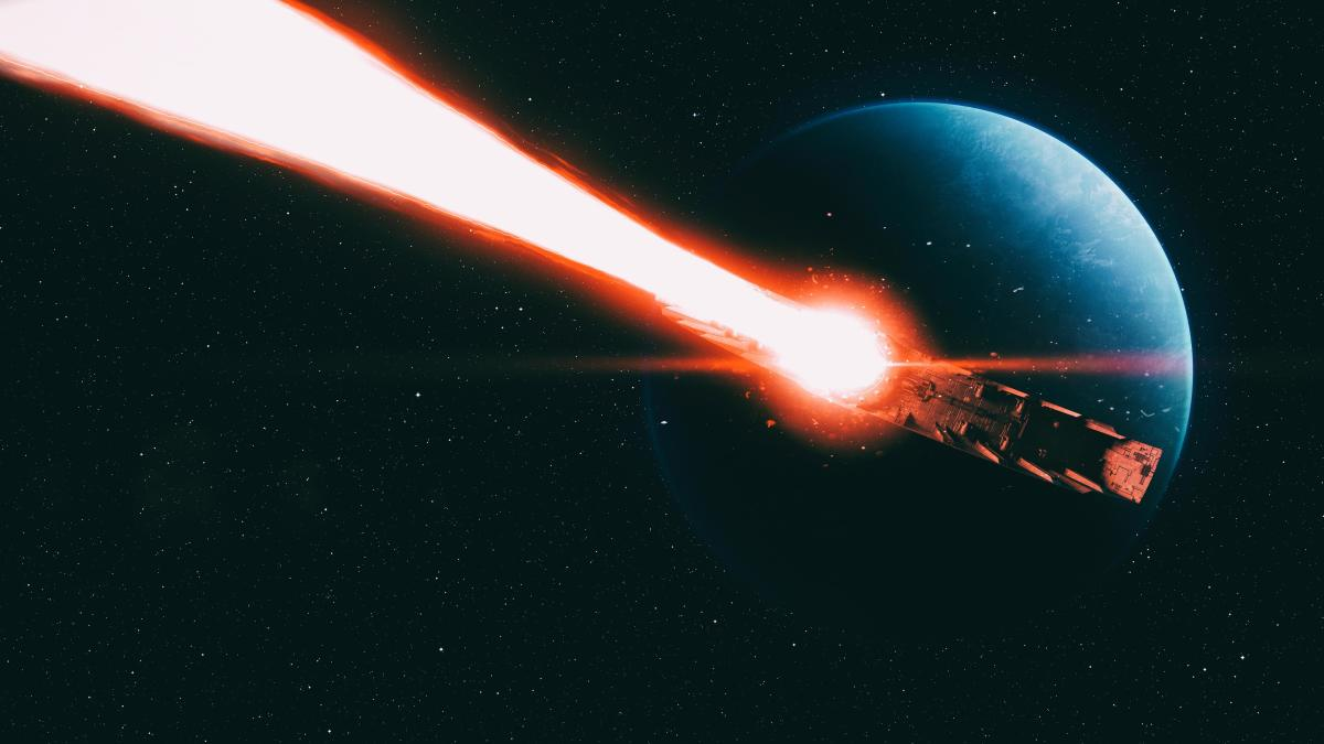 Starkiller Base firing in The Force Awakens