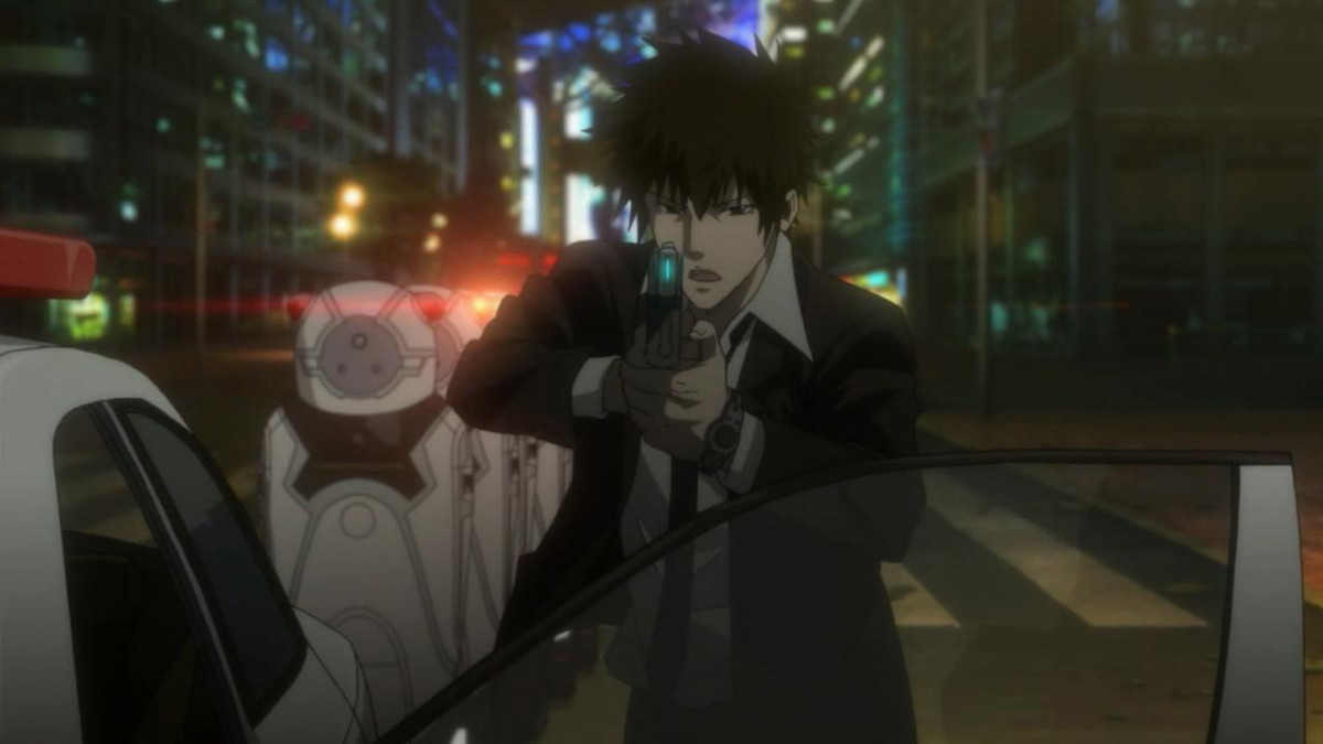 Enforcer Shinya Kogami helps in restraining a riot in the city.