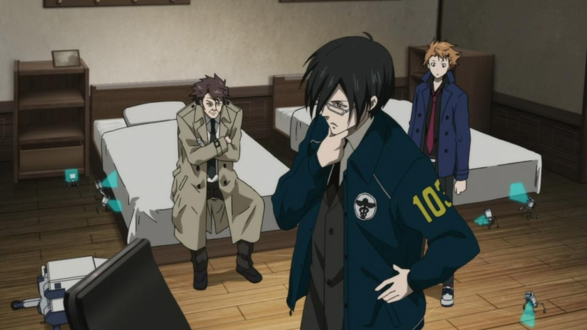 "Inspector Ginoza and Enforcers Masaoka and Kagari ponder on their new case, involving disturbingly ""artistic"" murders."