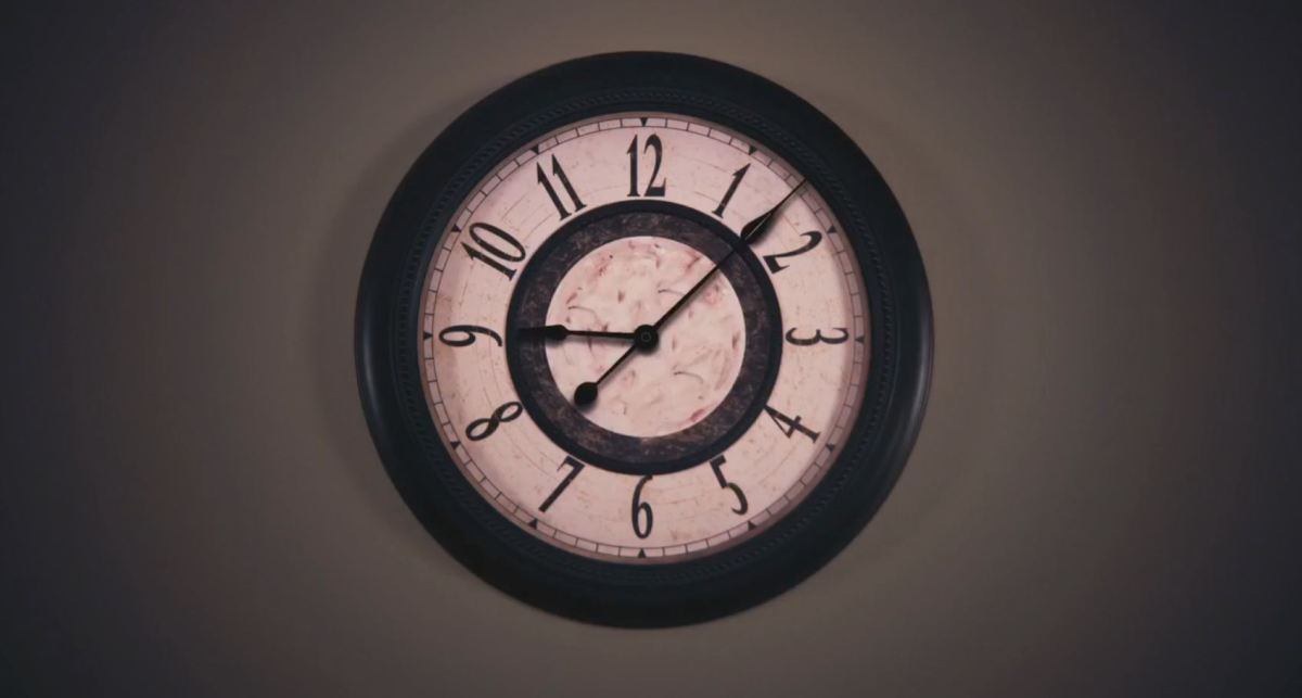 It's funny because the clock keeps signifying that a bunch of time is passing, but the scene won't end. Ha. F*cking. Ha!
