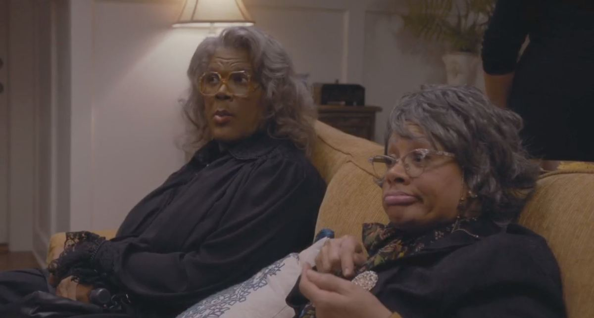 Madea and Hattie mugging to the camera in reaction to the melodrama.