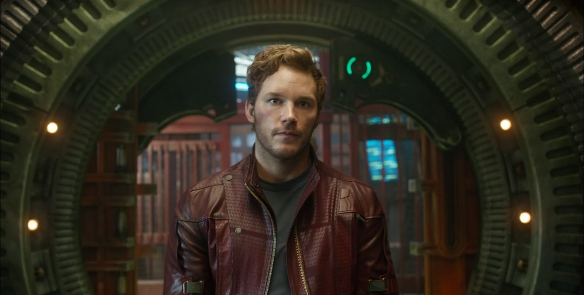 Chris Pratt as Star-Lord/Peter Quill in Guardians of the Galaxy.