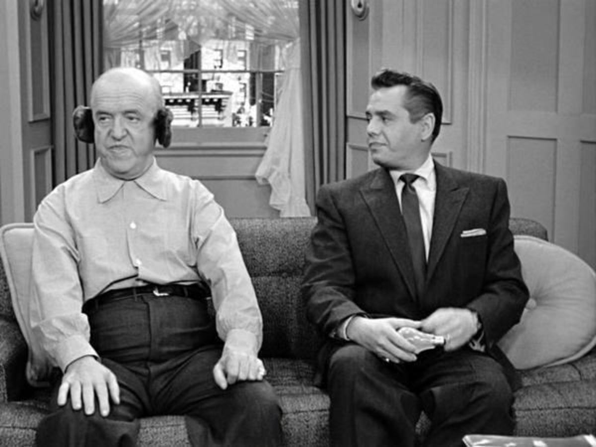 William Frawley (Fred) and Desi Arnaz (Ricky) on I Love Lucy.