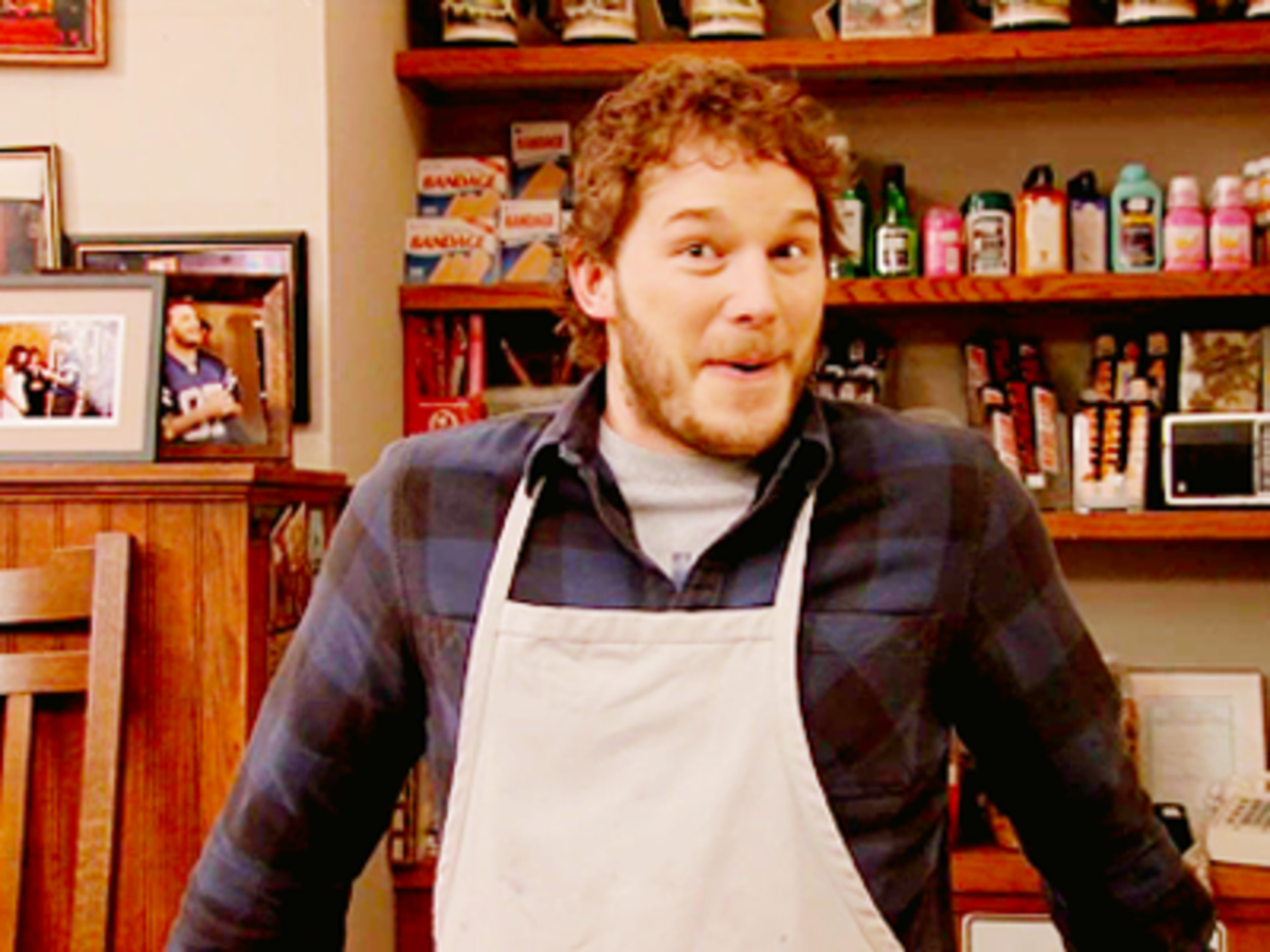 Chris Pratt as Andy on Parks and Recreation.