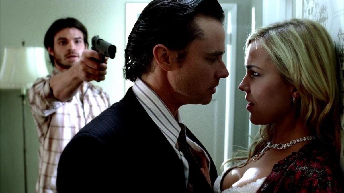 Daniel Gillies (Elijah) and Arielle Kebbel (Lexi) on an episode of True Blood, alongside Sam Trammell (center).