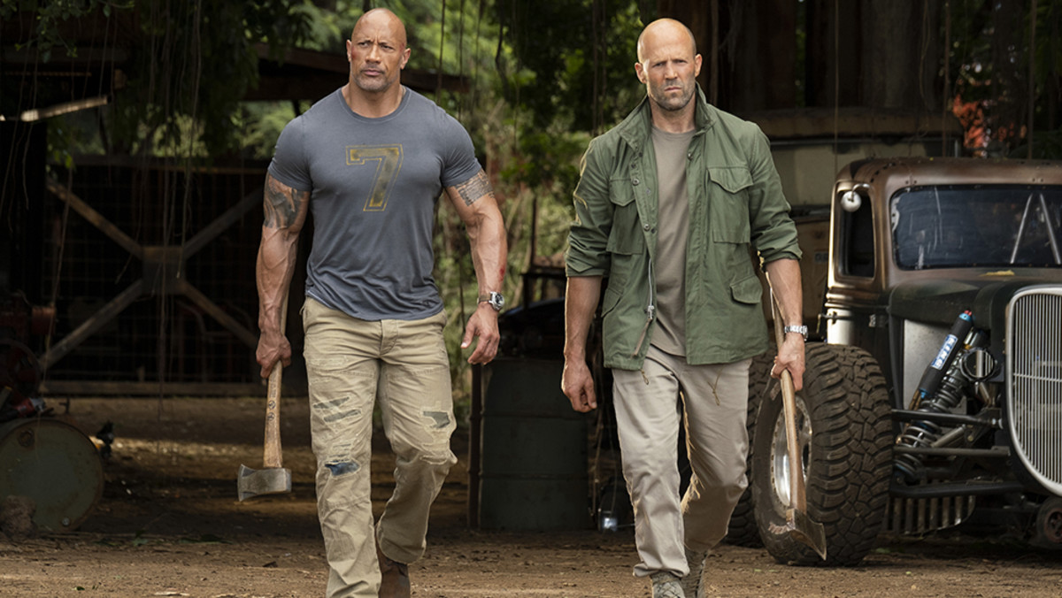 Courtesy of Universal Pictures.  2019's Hobbs and Shaw demonstrate that there is still an appeal to the old school, macho hero.  But part of that is from an humorous awareness of that image.