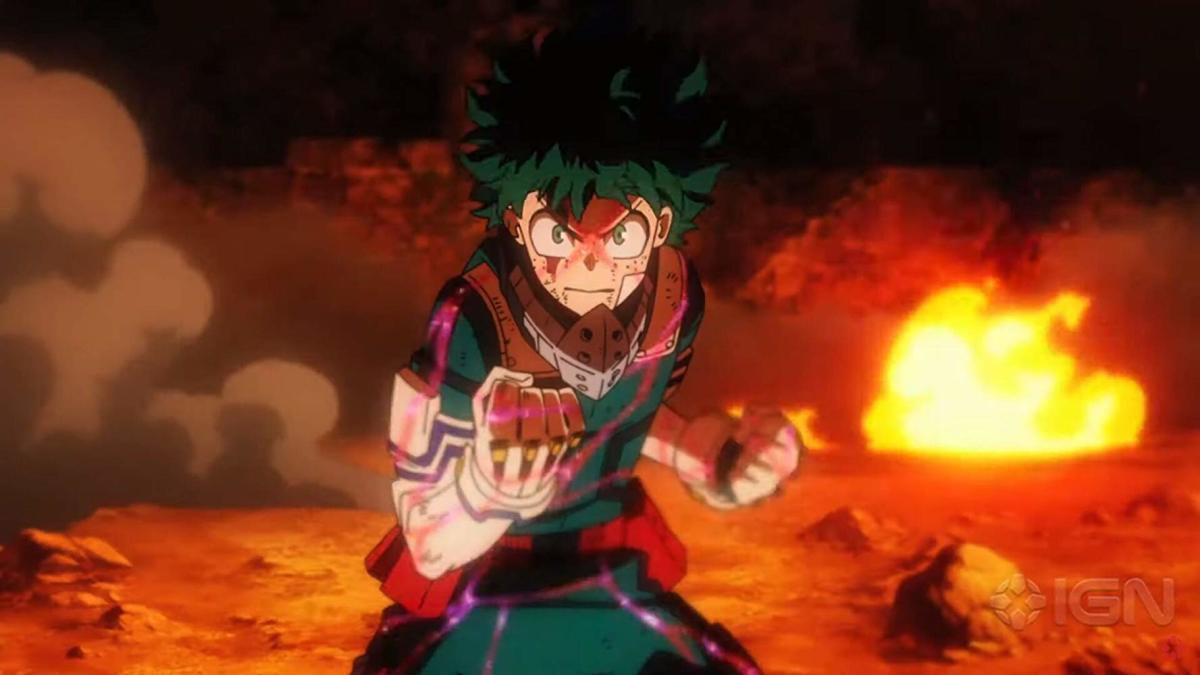 "Deku/Iziku Midoriya prepares for battle in, ""My Hero Academia: Heroes Rising."""