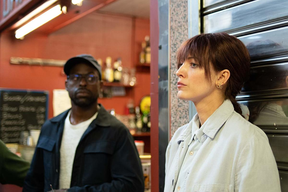 Sterling K. Brown and Blake Lively as Mark Serra and Stephanie Patrick.