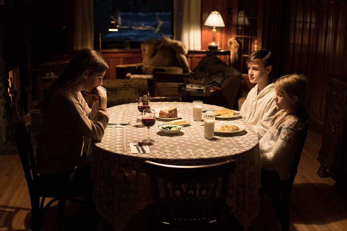 "Riley Keough, Jaeden Martell, and Lia McHugh as Grace, Aiden, and Mia in, ""The Lodge."""