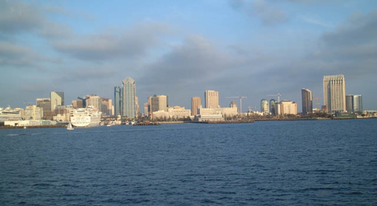 City view from the harbor