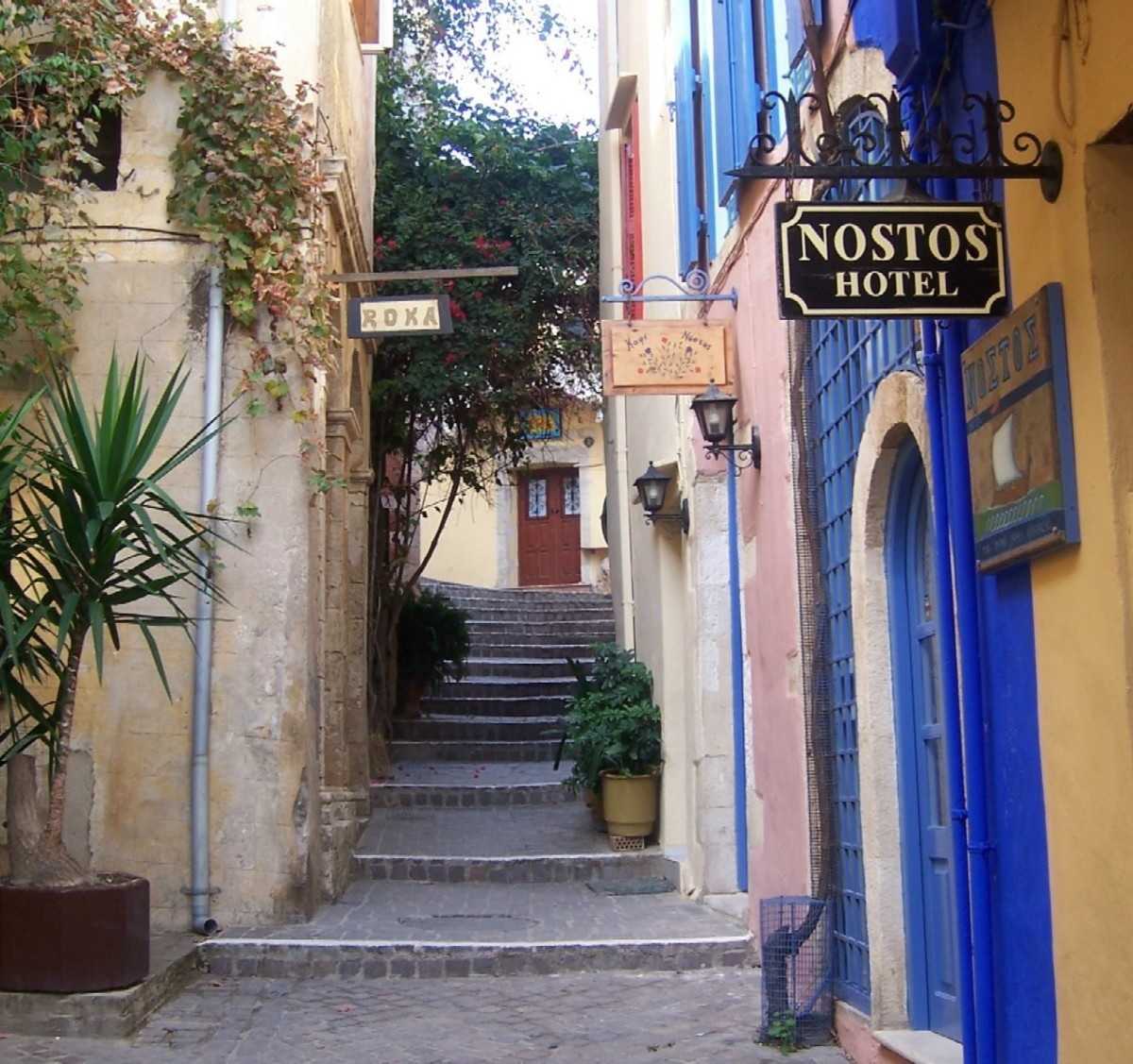 Cobbled back street of the Old Town Chania