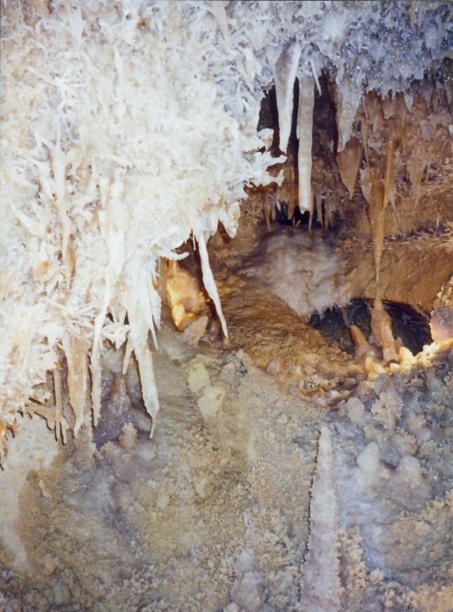Stalactites and Stalagmites growing in the Caverns of Sonora