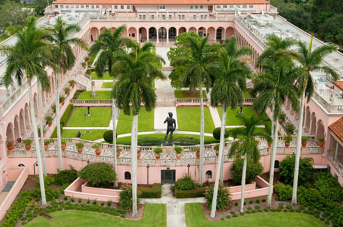 An aerial View of The John and Mable Ringling Museum of Art Courtyard in Sarasota, Florida. This is the State Art Museum of Florida.