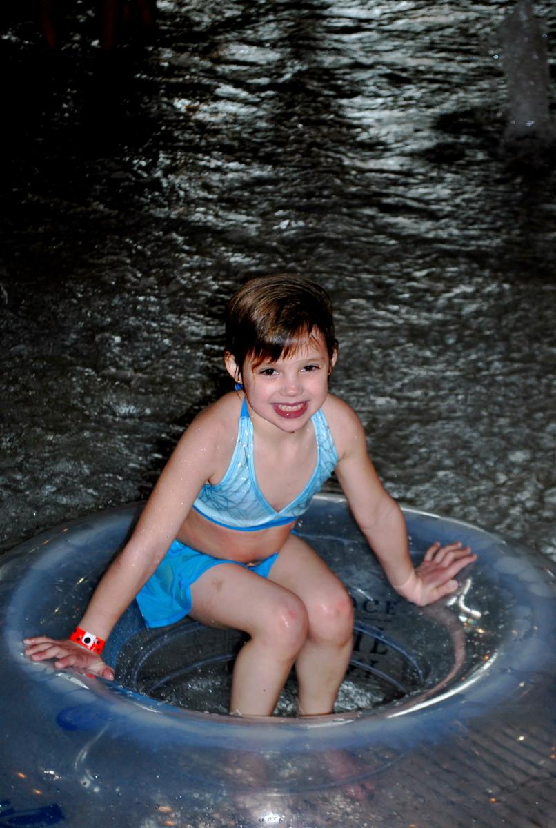 Fun in the wave pool.