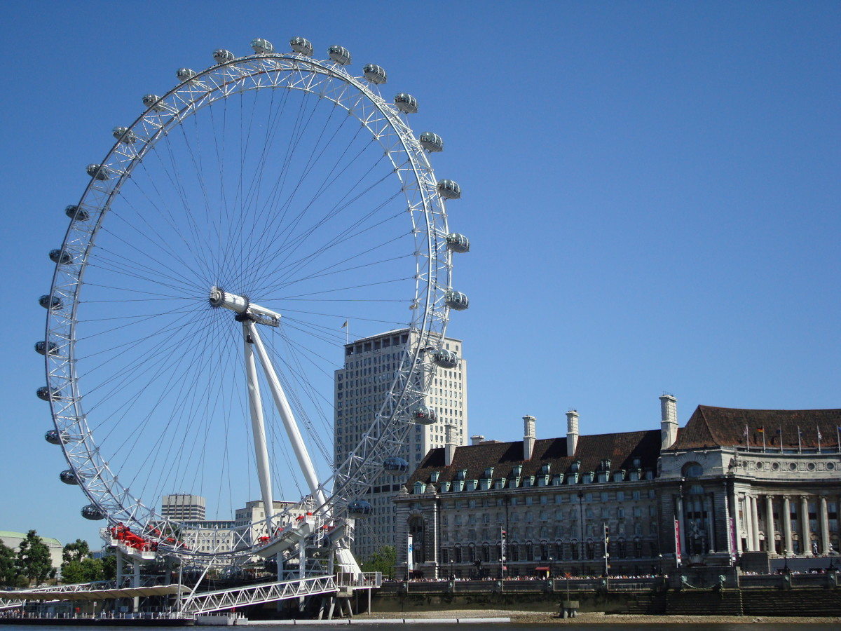 The London Eye - as seen from Thames cruise. Notice that there ARE sunny days in England!