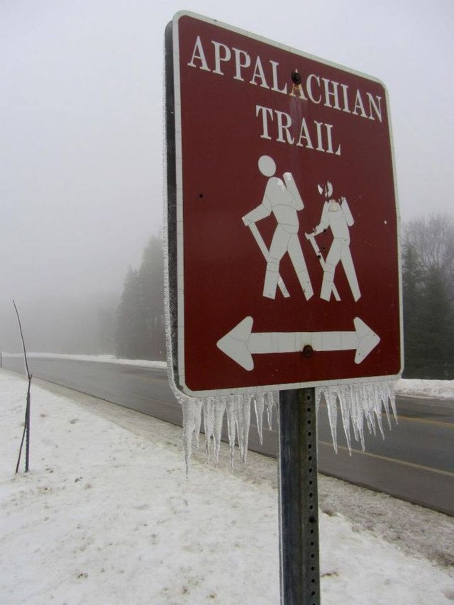 A road crossing on the Appalachian Trail