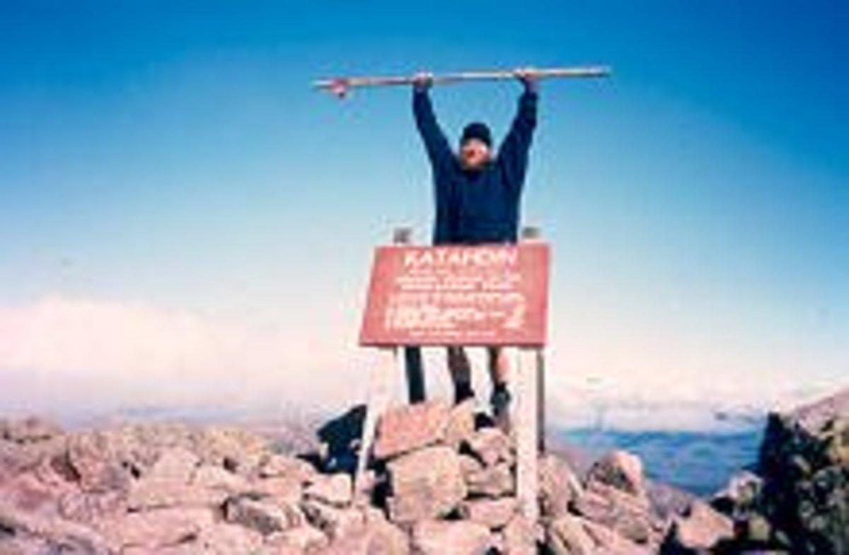 Gaited Mule finishing his thru-hike on Mt. Katahdin, on September 25, 2000