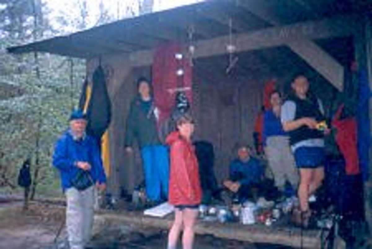 A.T. hikers at a shelter not far from the southern terminus