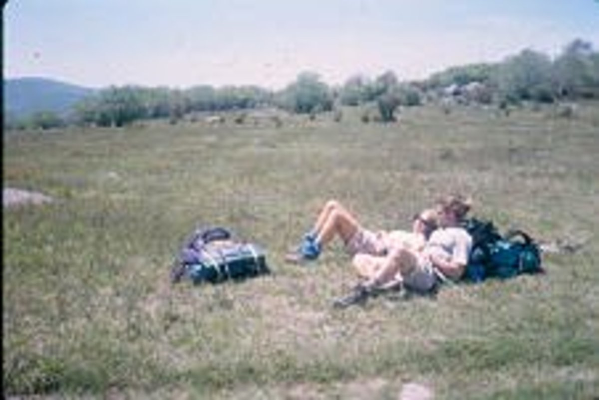 Lazy Unwashed Resting Stinky Hikers in the Grayson Highlands