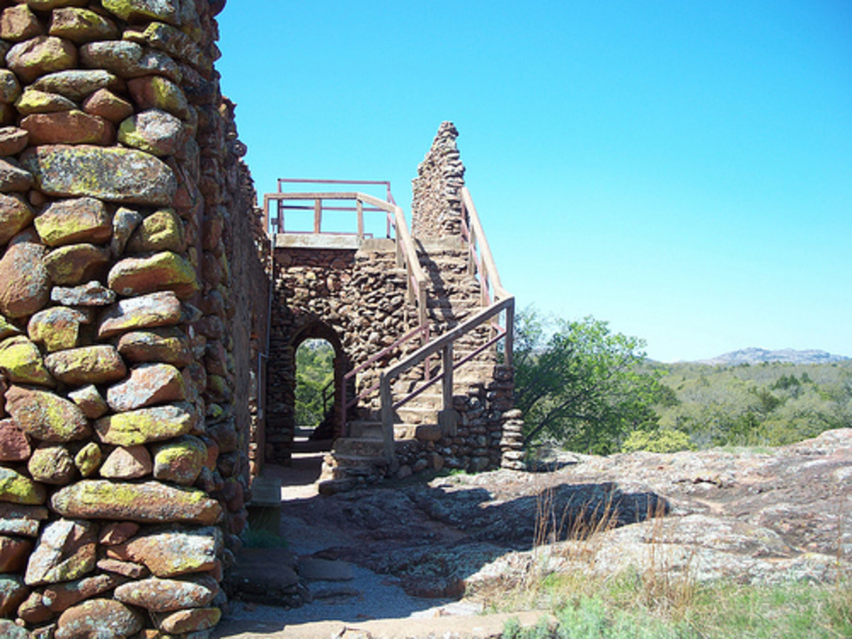 Oklahoma's Holy City: Looking off to the side of the Gates entering the Holy City of the Wichitas.