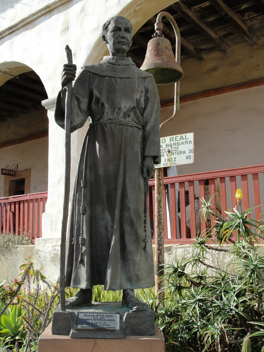 statue of Father Junipero Serra outside Santa Barbara Mission