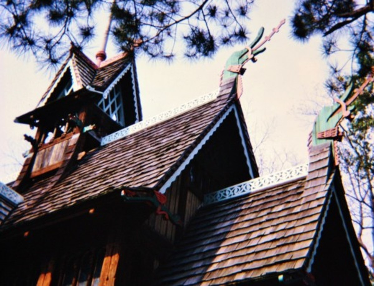 Closeup of church roof at Little Norway