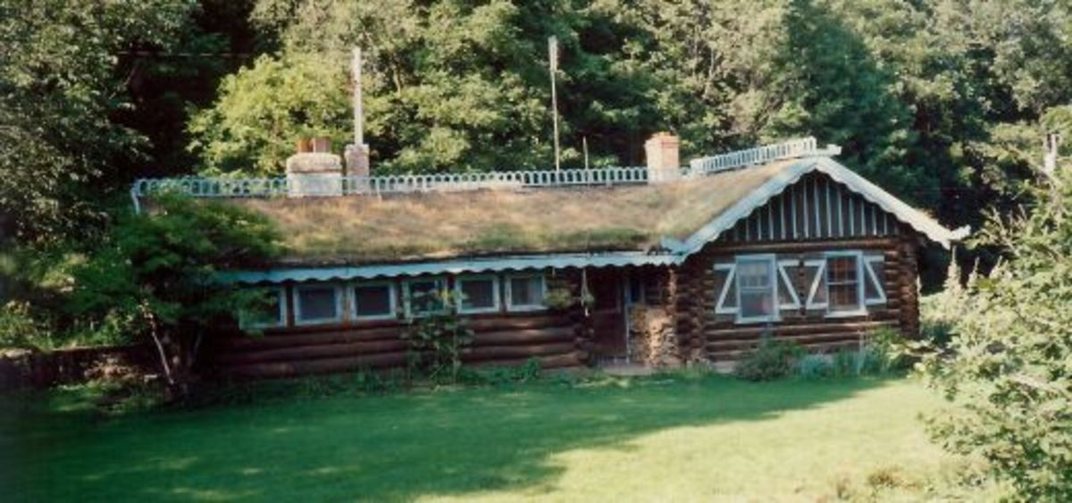 Sod covered cottage at Little Norway