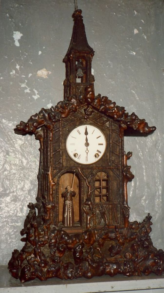 Elaborately carved clock at Little Norway