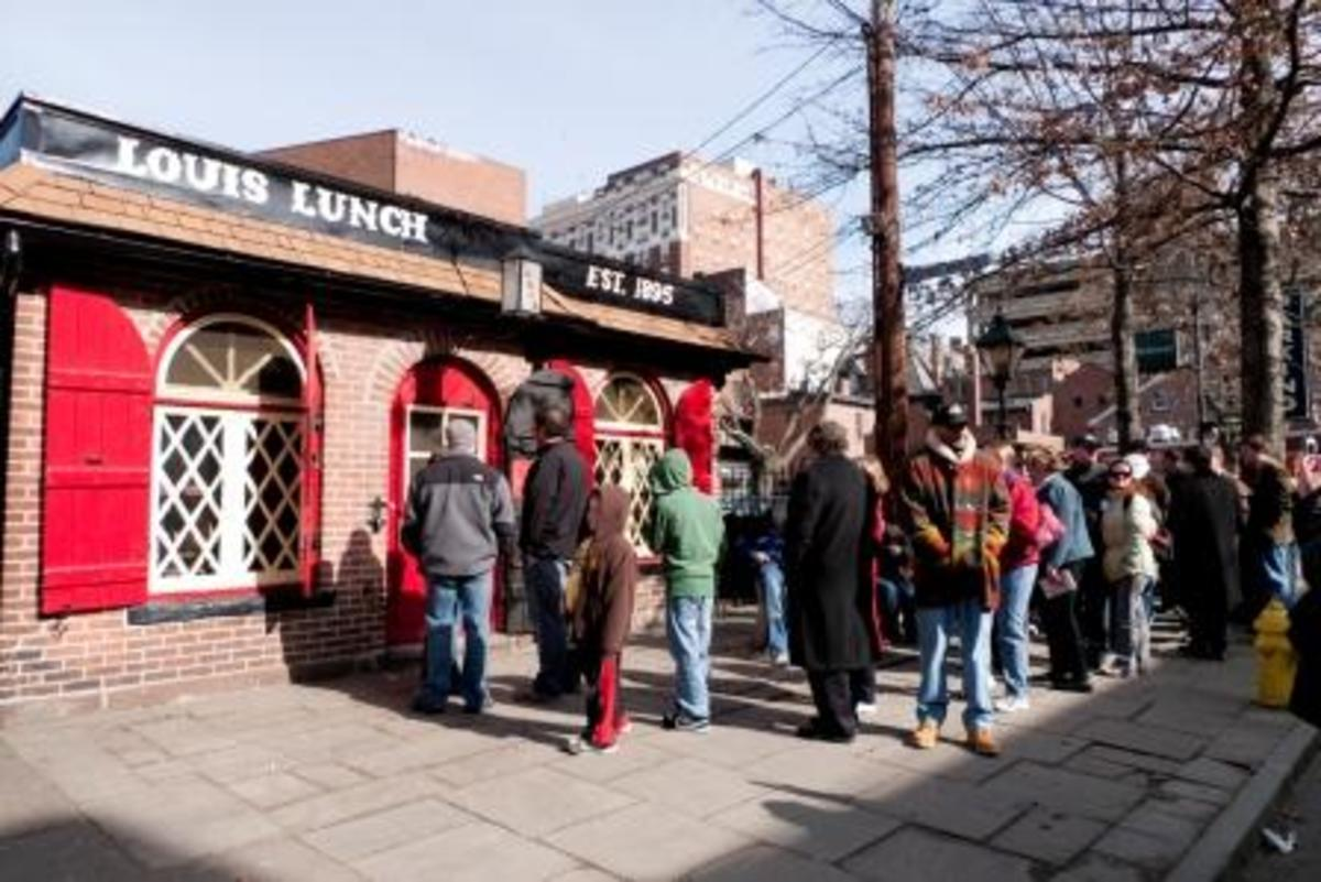 The daily lines begin to form at Louis' Lunch in New Haven.