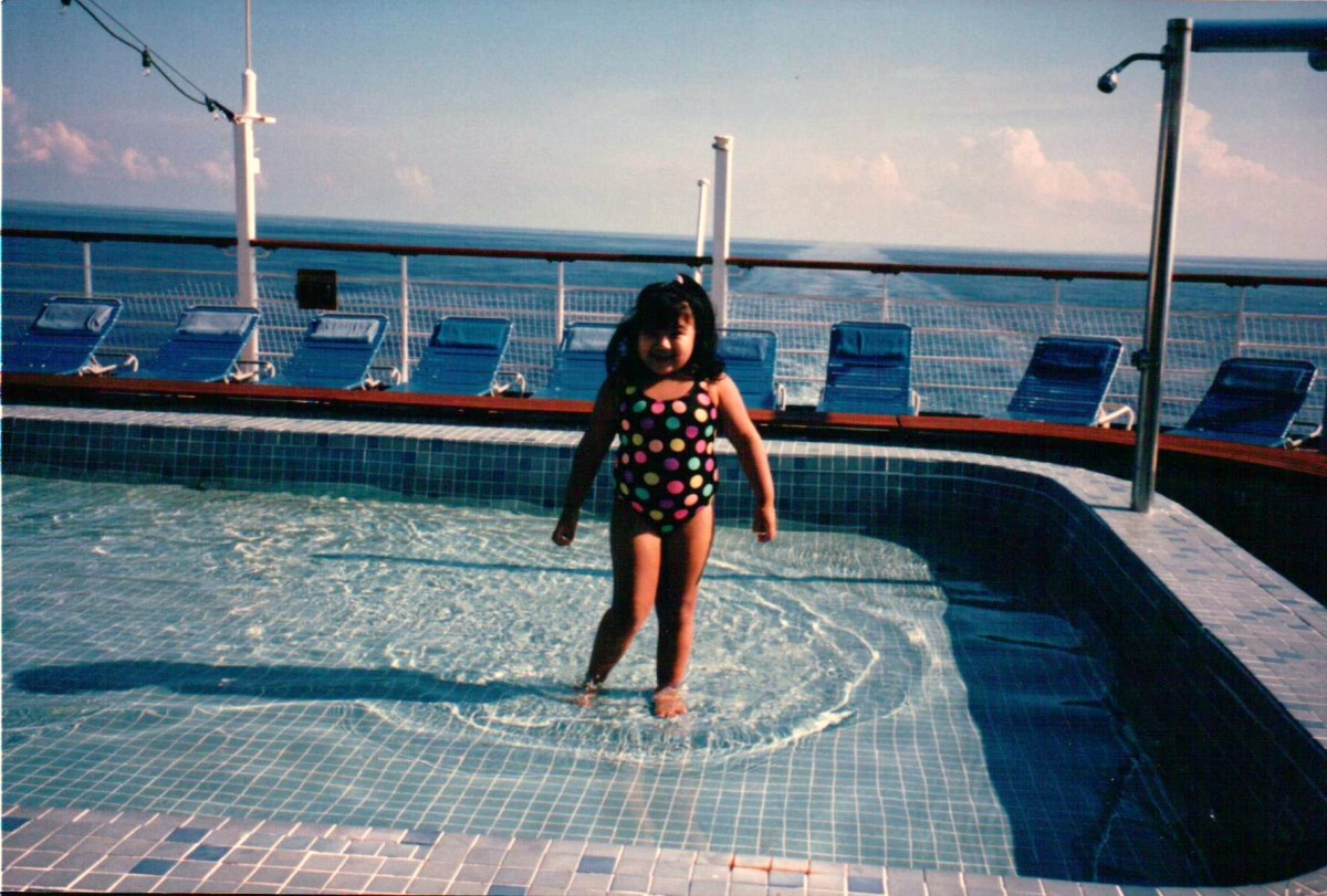In the kiddie pool on the Carnival Tropicale, September, 1995