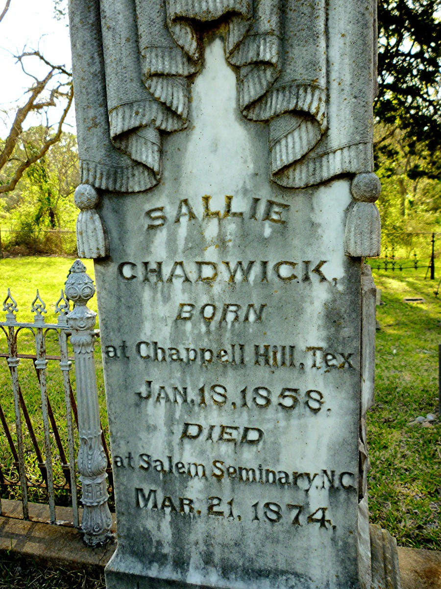 Detail of the inscription of a taller monument in the Masonic Cemetery in Chappell Hill, Texas.