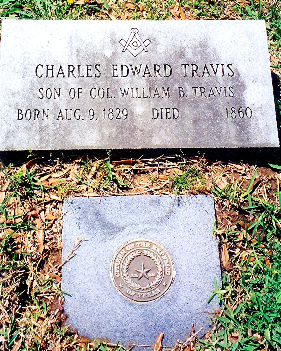 Gravesite of Colonel Travis' son Charles Edward Travis