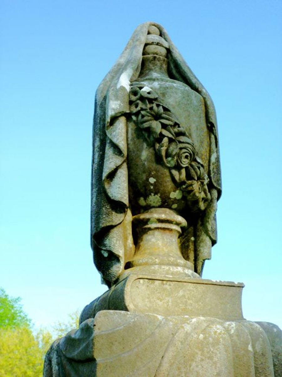 Top of one monument at the Masonic Cemetery in Chappell Hill, Texas