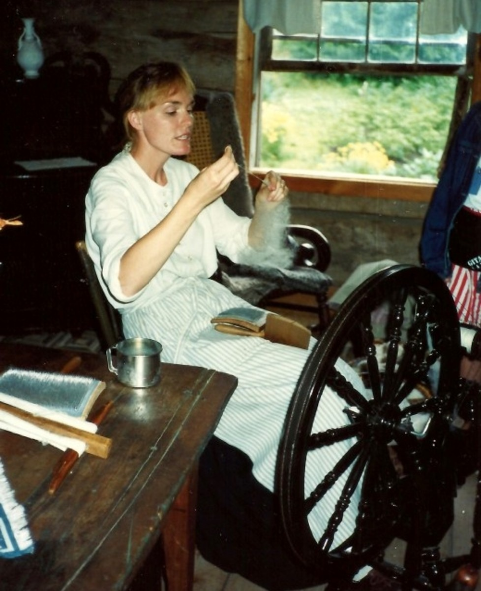 Carding and spinning wool at Old World Wisconsin