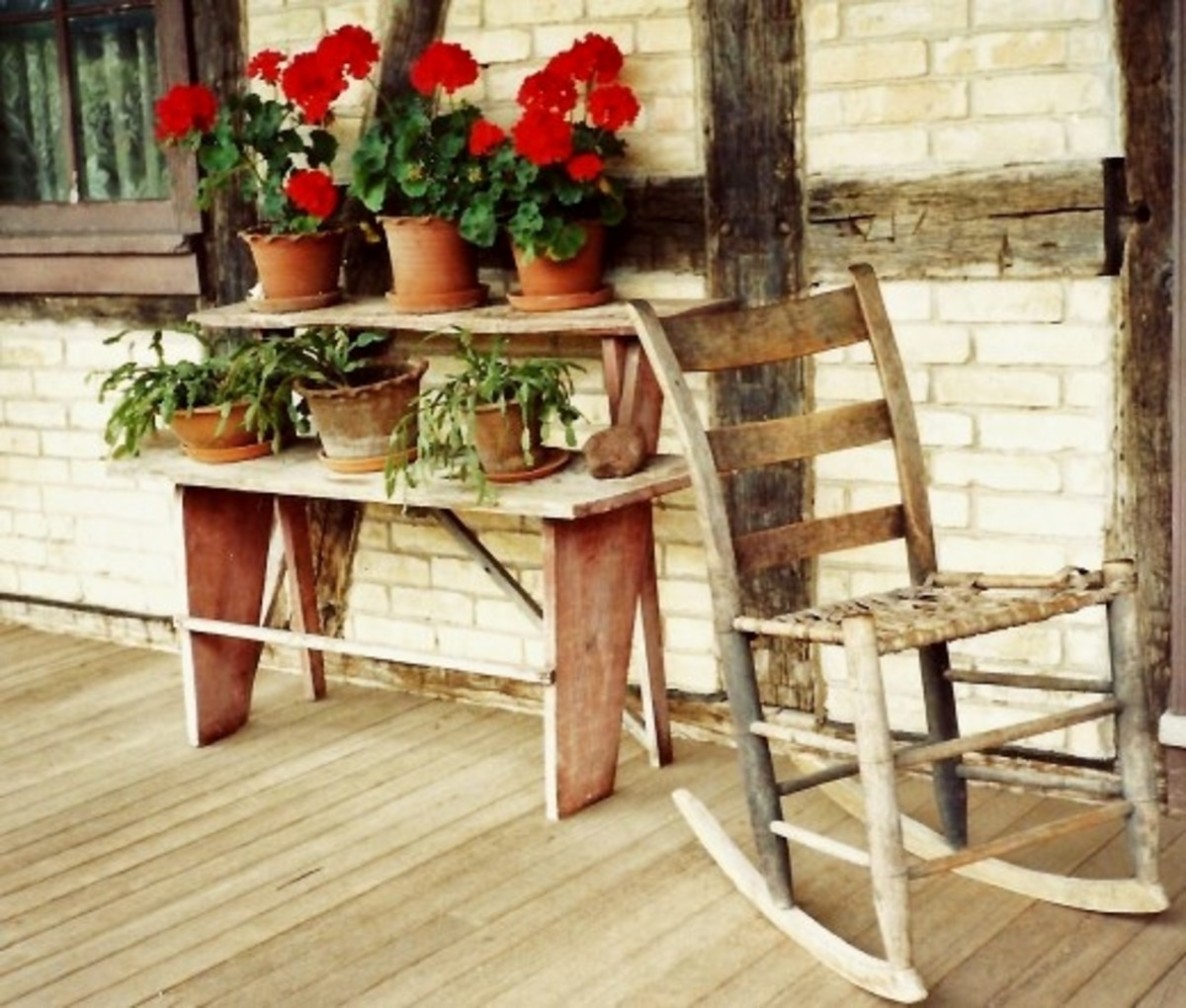 On the front porch of the Koepsell House at Old World Wisconsin