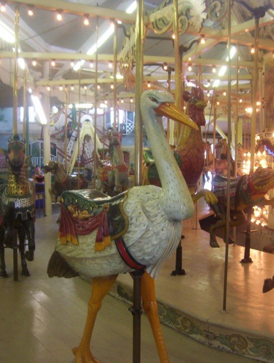 A Stork on the Old Hershell - Spellman Carousel at Trimper's Rides