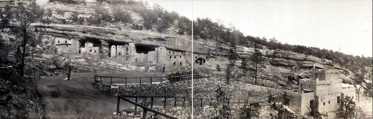 1908 image of the Manitou Cliff Dwellings