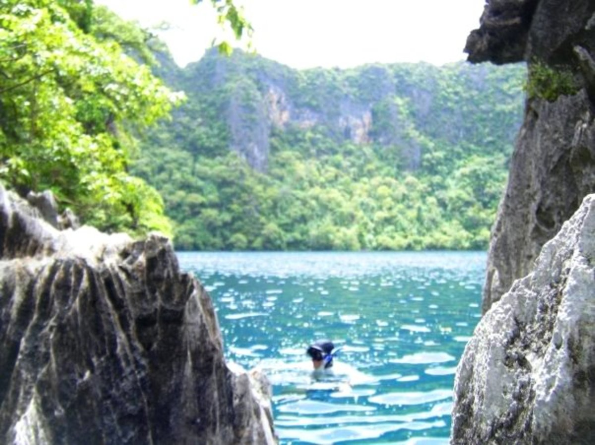 Snorkeling at a secluded lake in Coron Palawan.